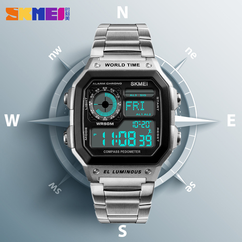 Countdown Compass Sport Watch SKMEI Mens Watches Top Brand Luxury Wrist Watch Men Waterproof LED Electronic Digital Male Watch Pakistan