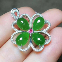 Drop Shipping Womens Necklace Pendant Natural Green Jasper Jade Flower Gift for Females Fashion Fine Jewelry