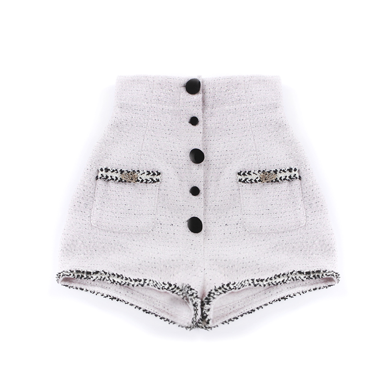 Le Palais Vintage 2017 Winter Elegant Vintage Slim High Rise Warm Shorts Women Pockets Decoration Embroidery Buttons Placket by Le Palais Vintage