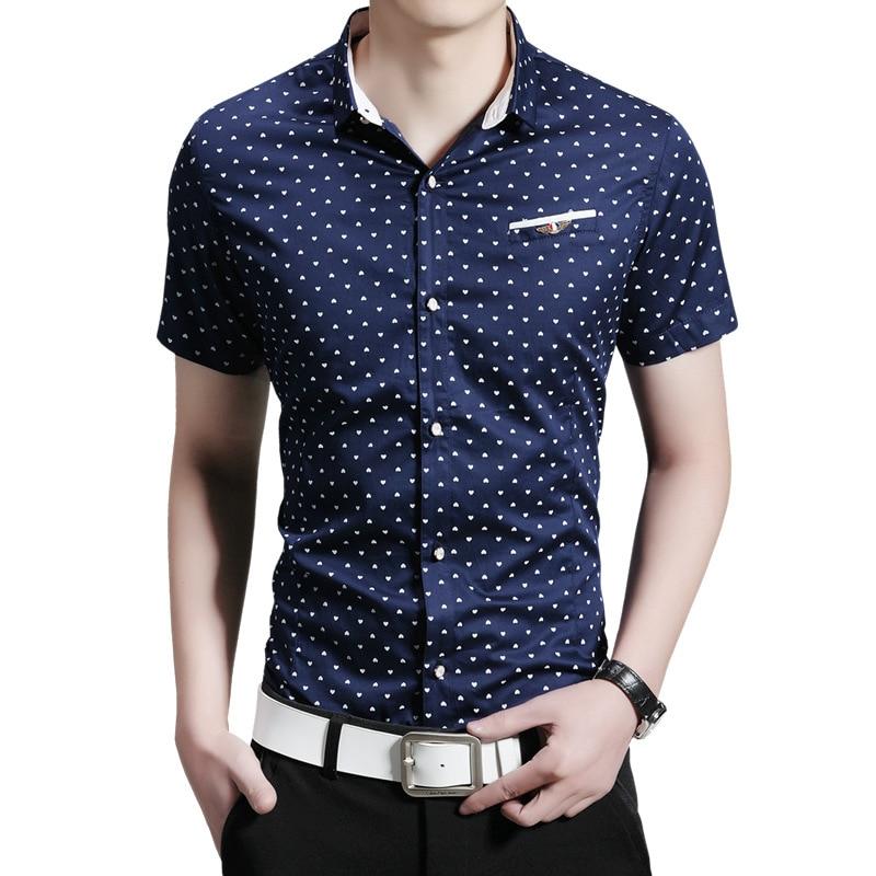 2016 New Fashion Casual Men Shirt Short Sleeve Polka Slim Fit Shirt ... 669d41729b12