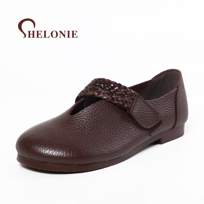 shelonie Genuine Leather Women Shoes Handmade Casual leather Shoes Soft Casual Flats Shoes 2018 spring new leather shoes handmade shoes spring and summer new style soft genuine leather flats shoes shoes for pregnant women flats