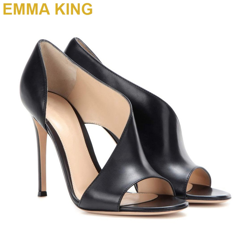 Toe Emma Señora Alto Negro Sandalias De Fiesta 43 picture Zapatos Peep Rosa Color Cubierta King Elegante Verano Moda Stiletto La 35 Mujeres Las Tacón Cuero BqparYqw