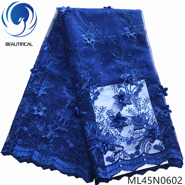 BEAUTIFICAL 3d embroidery lace blue african french tulle fabric lace women dresses fabrics ML45N06
