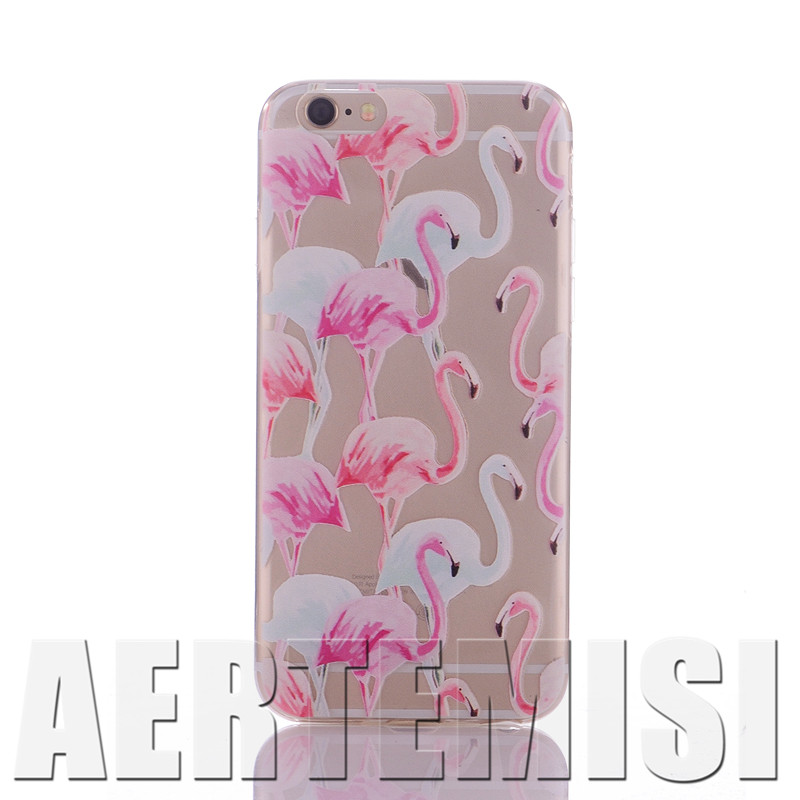 Phone Cases Watercolor Flamingo Tropical Animal Summer Love Beach Soft TPU Clear Case for Apple iPhone 4 4s 5 5s 5c 6 6s Plus SE