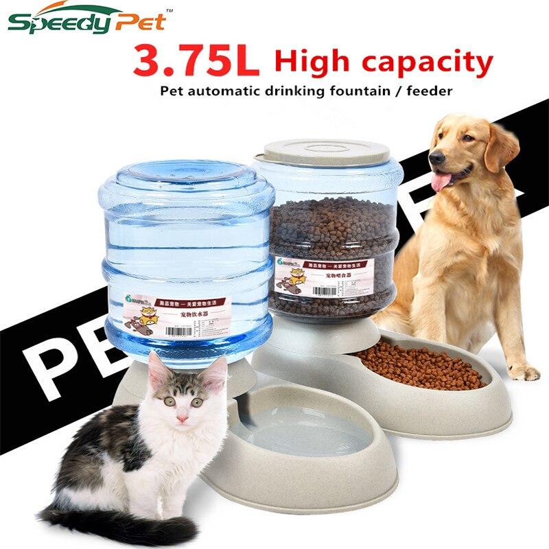 3.75L Automatische Haustier Wasser Feeder Brunnen Selbst-Abgabe Schwerkraft Hund Katze Wasser Food Dispenser Schüssel Pet Feeder und Waterer