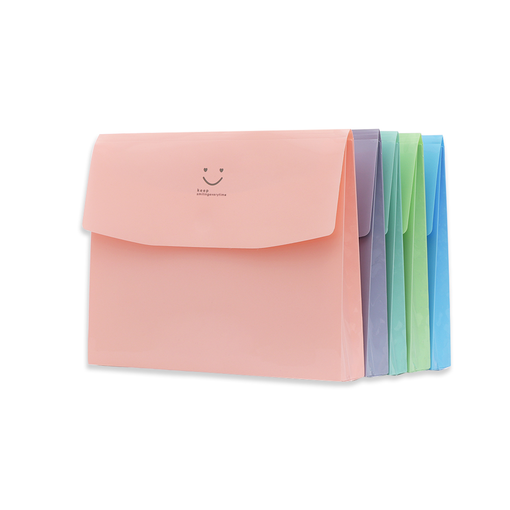 1PC A4 File Folder Bag Stationery Smile PVC Bag School Office Supplies Document Office File Folders Office Necessaries Supplies