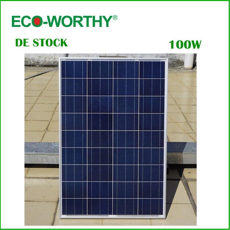 DE Stock No Tax В 100 Вт 18 в поликристаллическая солнечная панель для В 12 В батареи off Grid system солнечная для домашней системы Бесплатная доставка