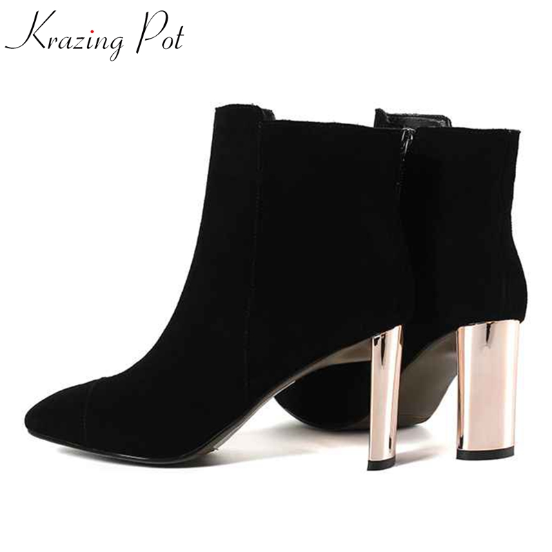 Krazing Pot Winter cow suede strange metal heels round toe art design size 43 42 41 luxury banquet dress sexy ankle boots L58 krazing pot cow suede fashion winter big size round toe art square high heels embroidery women flowers ankle chelsea boots l15