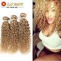 """10 """"-26"""" verdadero Grado 8A Pelo Virginal Peruano Rizado Rizado de la Onda 3 Bundles Blonde Curly Wave Extensiones de Pelo Rizada rizada Del Pelo 3 paquetes"""