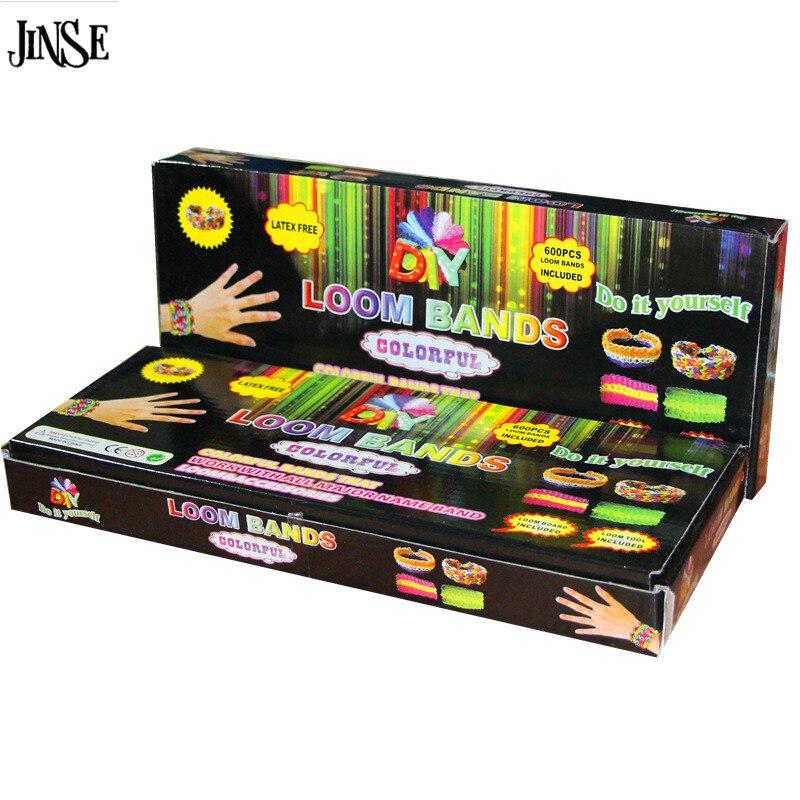 JINSE Colorful Pure Rubber Bands DIY Bracelet Loom Bands Packing Box 600pcs Rubber Band +1 Hook +12 S-Clips Girls DIY Loom Set браслет цепь brand new 50set diy fedex loom bands