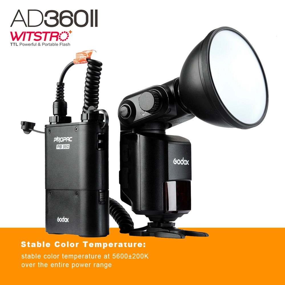 Godox AD360 II Witstro AD360II-N TTL On/Off-Camera Flash Speedlite for Nikon DSLR Cameras + PB960 Battery Pack genuine meike mk950 flash speedlite speedlight w 2 0 lcd display for canon dslr 4xaa