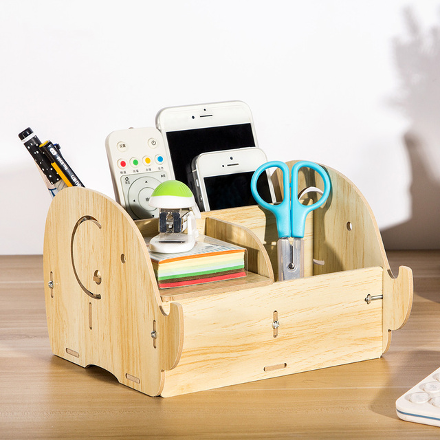 Wooden Box DIY Multi Functional Storage Box Desktop Remote Control  Organizer Mobile Phone Pen Office