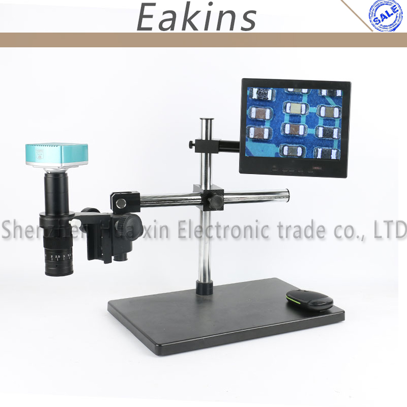 1080P HDMI USB HD Industry Lab Video Microscope Camera SD Card Video Recorder 180X C Mount Lens For Phone PCB BGA Soldering hdmi vga output digital industry microscope 1080p video camera set 100x c mount lens 56 led ring light for phone pcb inspection