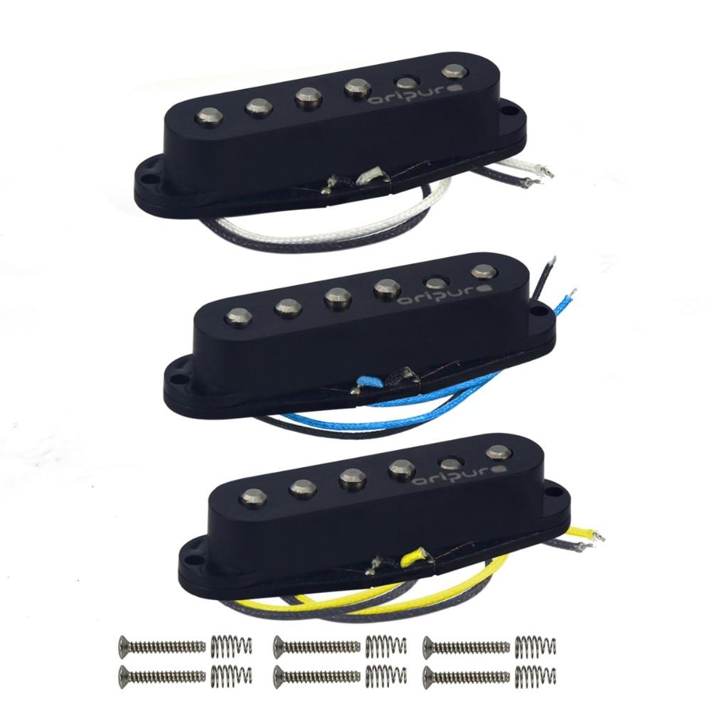 OriPure 3 pièces/ensemble de décalé Vintage Alnico 5 pick guitare simple bobine pick-up cou/milieu/pont guitare électrique pièces noir