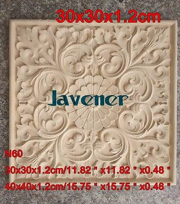 N60 -30x30x1.2cm Wood Carved Onlay Applique Carpenter Frame Decal Wood Working Carpenter
