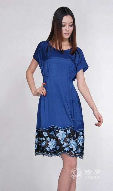 b24760db1 2012 New satin casual oriental embroidery dress Vintage Asian ...