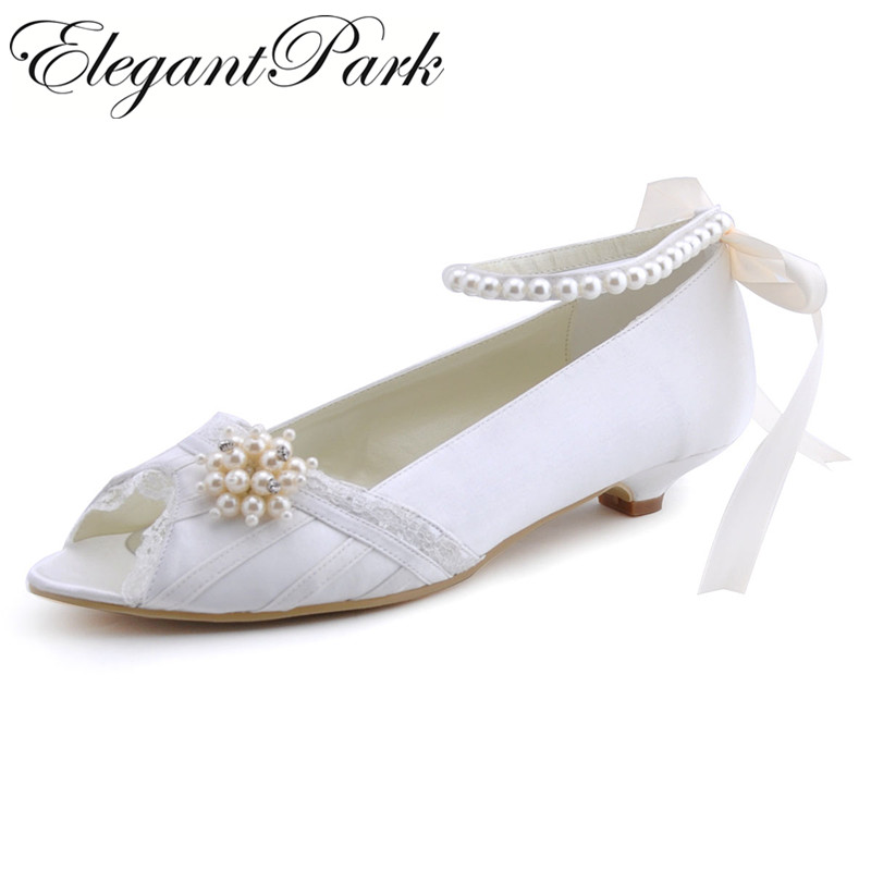 Woman Shoes EP41021 Ivory Round Toe Bow Low Heels Comfortable Shoes Satin Wedding Bridal Pumps Evening Party Women Shoes