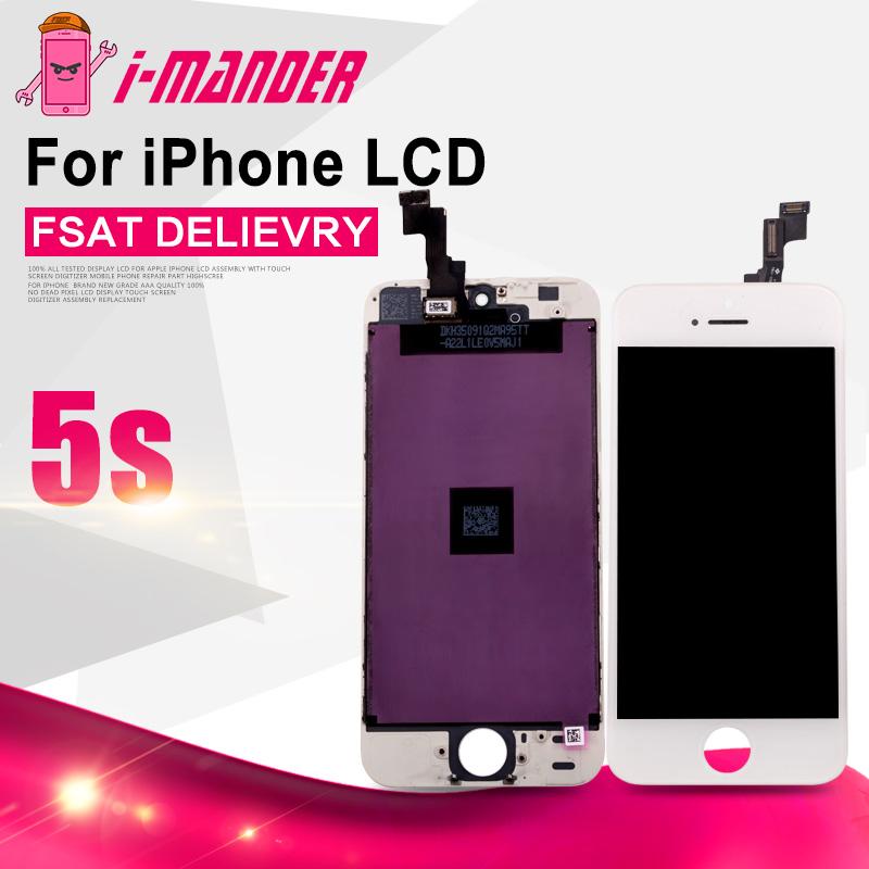 Prix pour Tous testés un par un aaa qualité noir/blanc tactile digitizer assemblée lcd pour iphone 5s, pour iPhone5s LCD DHL Libèrent Le Bateau