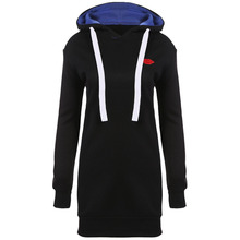 Women Hooded Long Sleeve Solid Loose Over Hip Hoodies New Casual