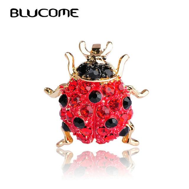 Blucome Kecil Penuh Kristal Merah Ladybug Bros untuk Anak Perempuan Kemeja Warna Emas Serangga Kumbang Bros Syal Korsase Aksesoris