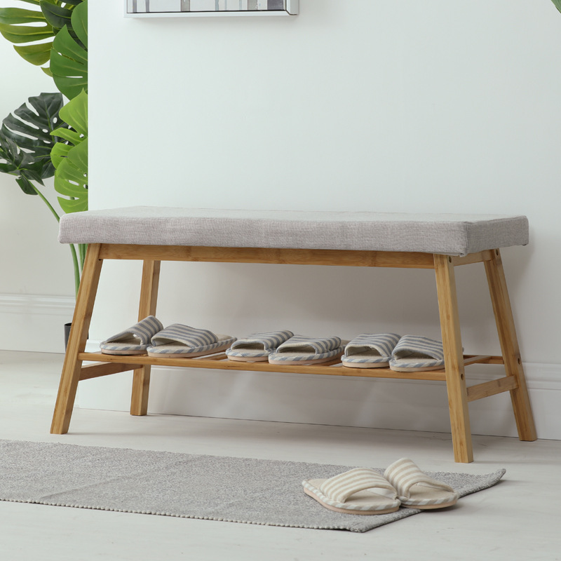 Shoe Stool Rack Bamboo Shoe Cabinet Nordic Change Shoes Storage Long Bench Ottoman Shoes Bench With Soft Cushion Home Furniture