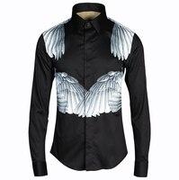 2016 חולצות גברים עיצוב מותג גברים חולצה הדפסת כנפי Homme תחתונית אופנתי מקרית Slim Fit שרוול ארוך חולצות גברים שחור
