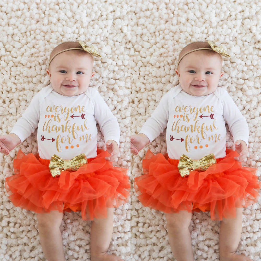 2b94032dab4f Infant Romper Tops+Tutu Thanksgiving Outfit Set - Holidays Year Round