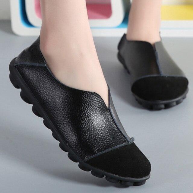 fc0221217 الترفيه السيدات الشقق حقيقية أحذية من الجلد النساء الربيع 2019 كبير حجم 35-43  حذاء كاجوال المتسكعون sapato feminino