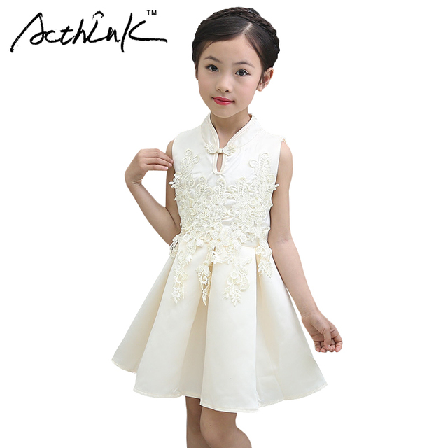 ActhInK New Girls Flower Cheongsam Tang Suit Lace Dress Brand ...