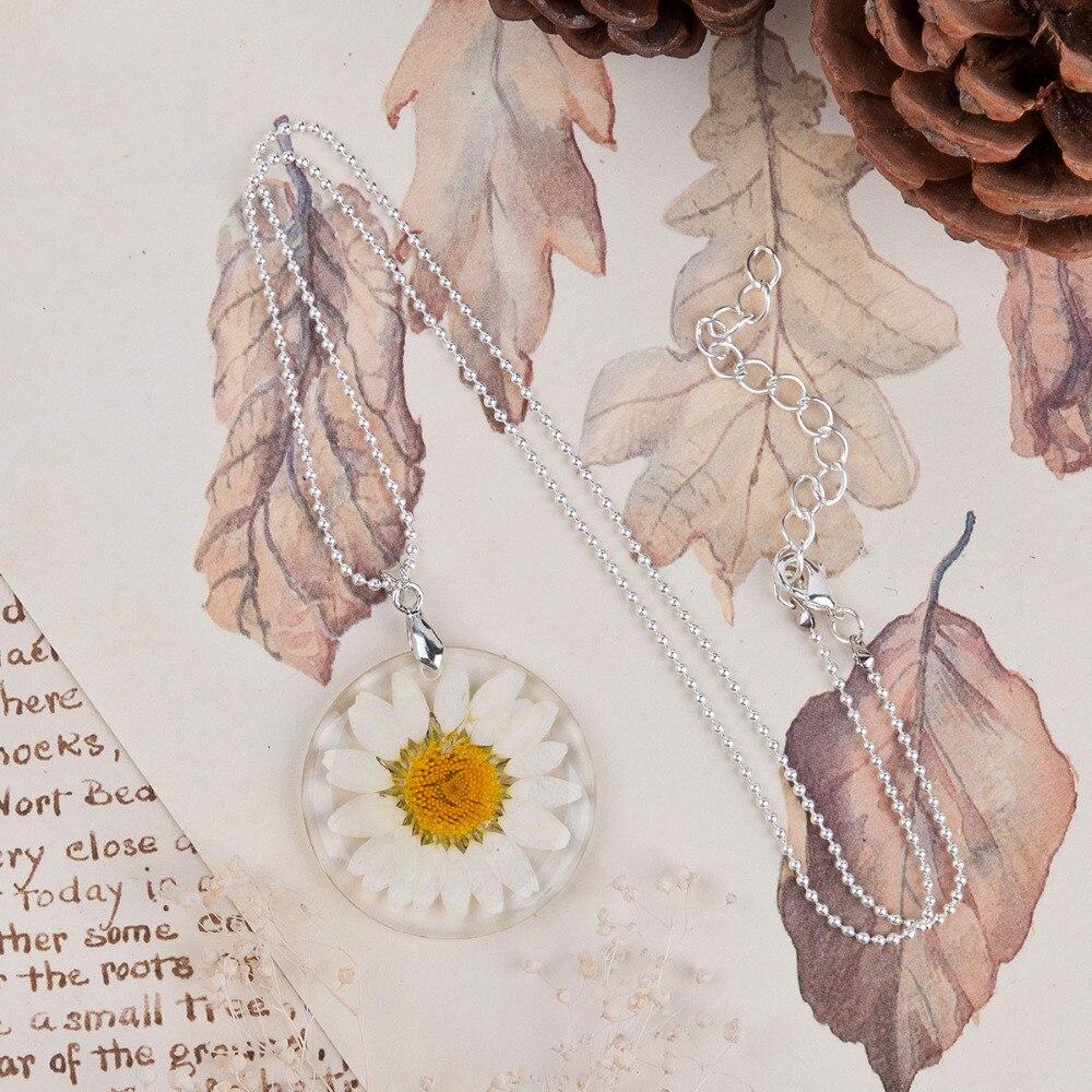 8 MEVSIM El Yapımı Boho Şeffaf Reçine Kurutulmuş Çiçek Papatya - Kostüm mücevherat - Fotoğraf 3