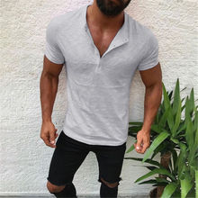 2019 Hirigin Brand Hot Men's Slim Fit V Neck Short Sleeve Muscle Tee T-shirt Casual Tops Henley Shirts