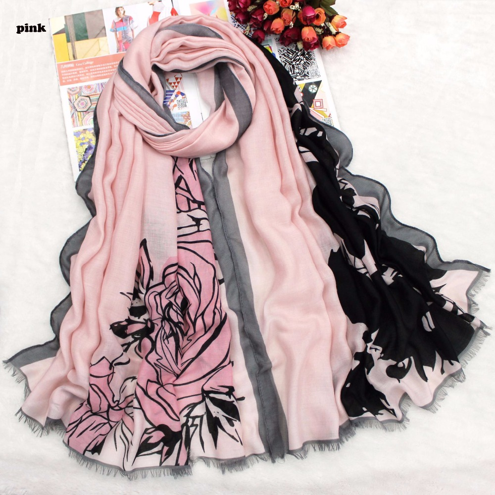 Women Floral Printed Quality Cotton Fringe Scarf 6Colors 10pcs/Lot