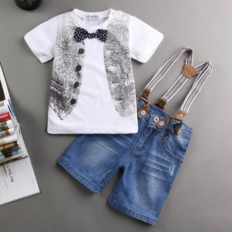 EMS DHL Free NEW Baby Boys Kids Boys outfit 2 pc Suit T shirt Denim Suspender