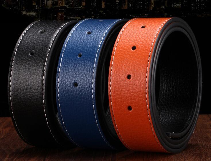 Vohio hombres cinturones marcas botón suave Correa cuerpo estilo de cuero  hebilla hombres de lujo cuerpo 8eaaea89b542