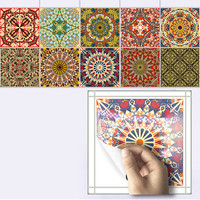 10pcs Set Mediterranean Style Self Adhesive Tile Art Wall Decals Sticker DIY Kitchen Bathroom Home Decor