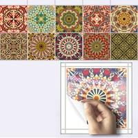 10pcs Set Mediterranean Style Self Adhesive Tile Art Wall Decals Sticker DIY Kitchen Bathroom Home Decor
