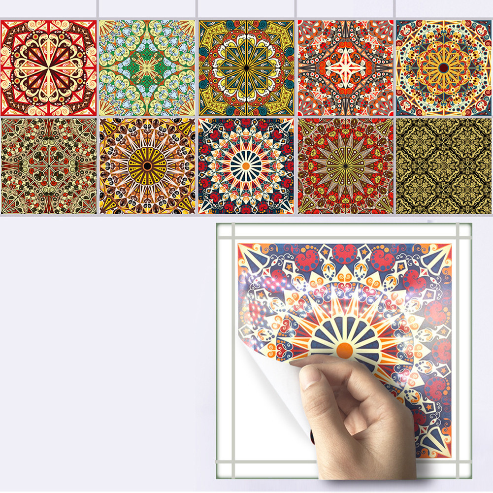 10pcs/set Mediterranean Style Self Adhesive Tile Stickers Art Wall Decals Sticker DIY <font><b>Kitchen</b></font> Bathroom Home Decor 20*20cm