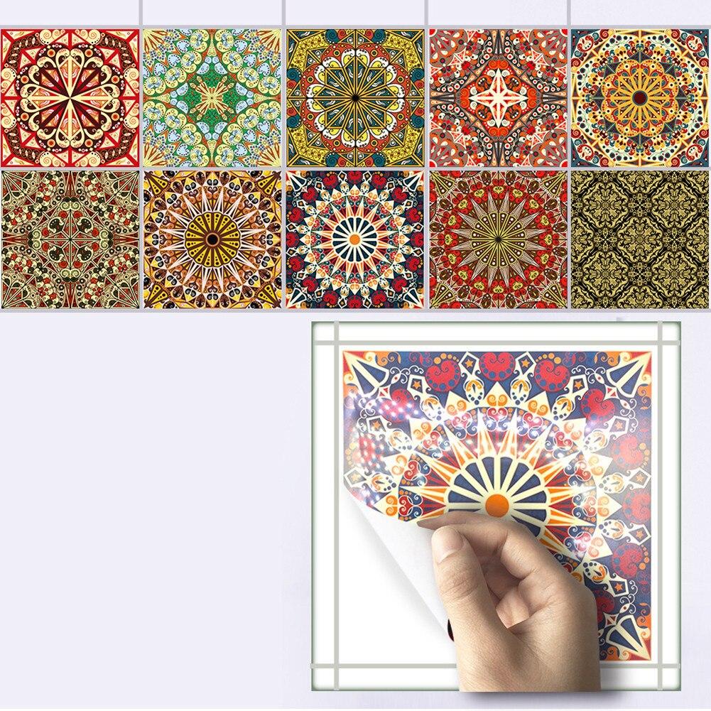 10pcs/set Mediterranean Style Self Adhesive <font><b>Tile</b></font> Stickers Art Wall Decals Sticker DIY Kitchen Bathroom Home Decor 20*20cm
