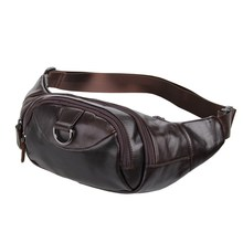 Fashion genuine leather bags cowhide men waist bags vintage natural cowskin waist packs men shoulder chest bag coffee #MD-J7211