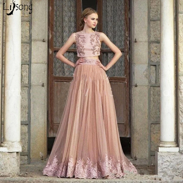 Chic Dusty Blush Pink Two Pieces Appliques Beaded Crop Top Formal ...