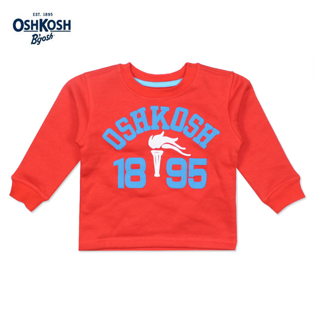OshKosh Classic Autumn Winter Boys Sweatshirts Orange Olympic Torch T-shirts Full Sleeves for Kids Clothes Outwear Boys 12M 5T
