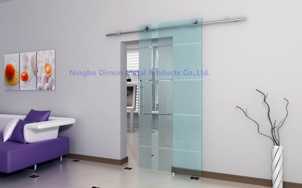 Free shipping Dimon stainless steel 304 polish nice style glass sliding barn door hardware DM-SDG 7004 without bar image