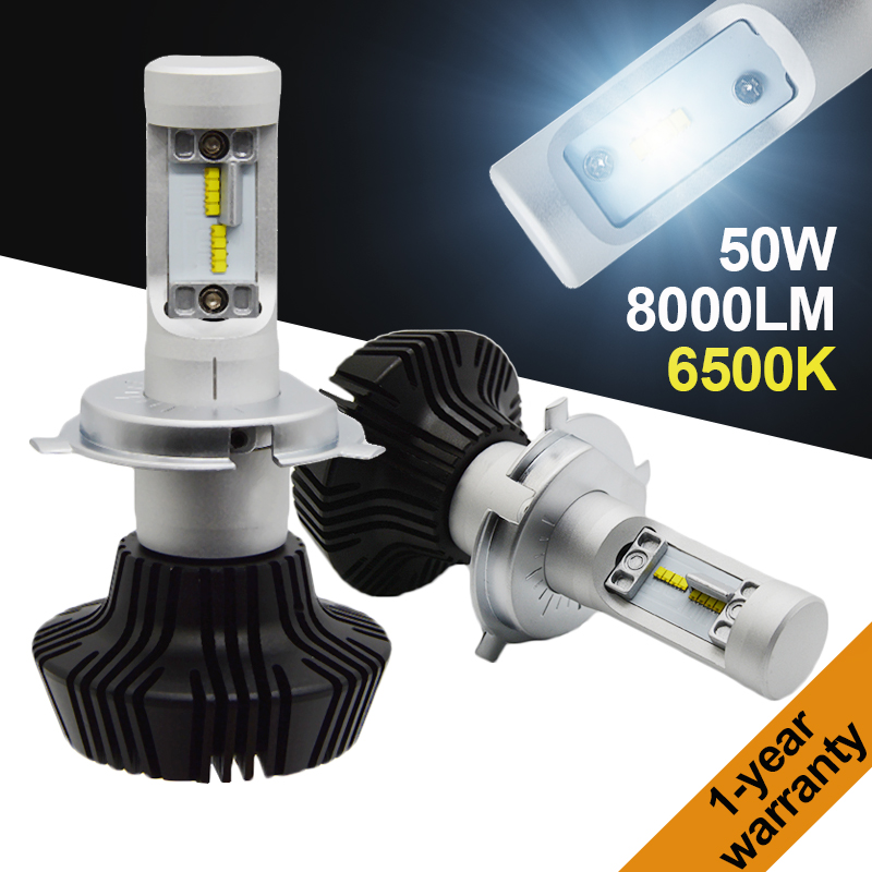 1 Set H4 9003 HB2 50W 8000LM G7 LED Headlight Auto Kit LUXEON ZES LUMILED Chip 7th Fanless 6500K Super White High/Low Dual Beam