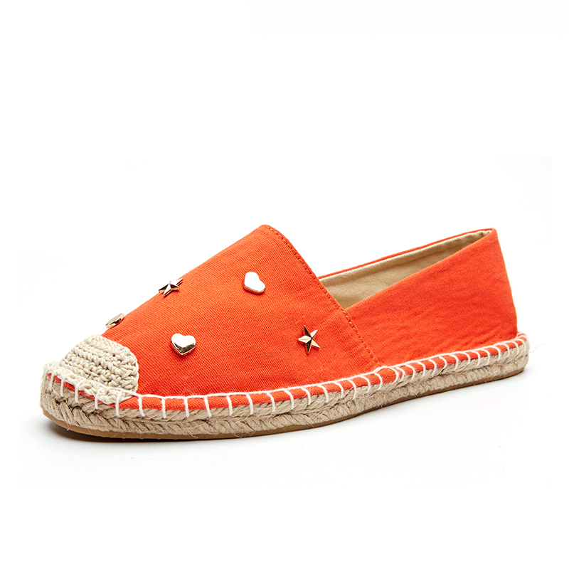 Women summer slip-on canvas espadrilles,small metal ornamentation with natual jute sole in black and orange color slip-on shoe