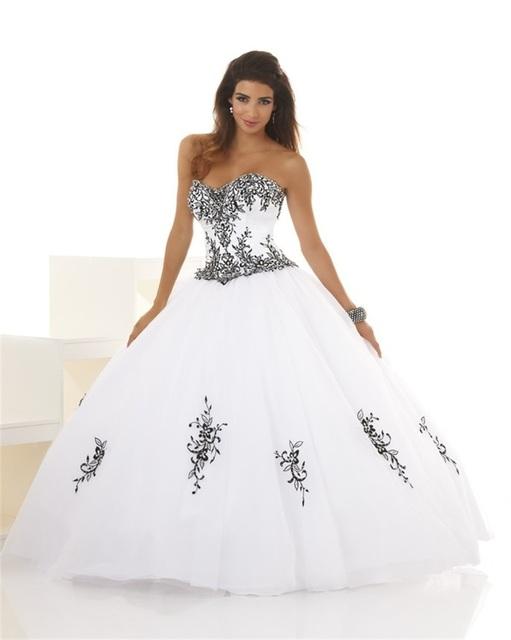 Branco e Preto sem alças Vestidos Quinceanera Bola Vestido De 15 Años Debutante Vestido Apliques Até O Chão Organza