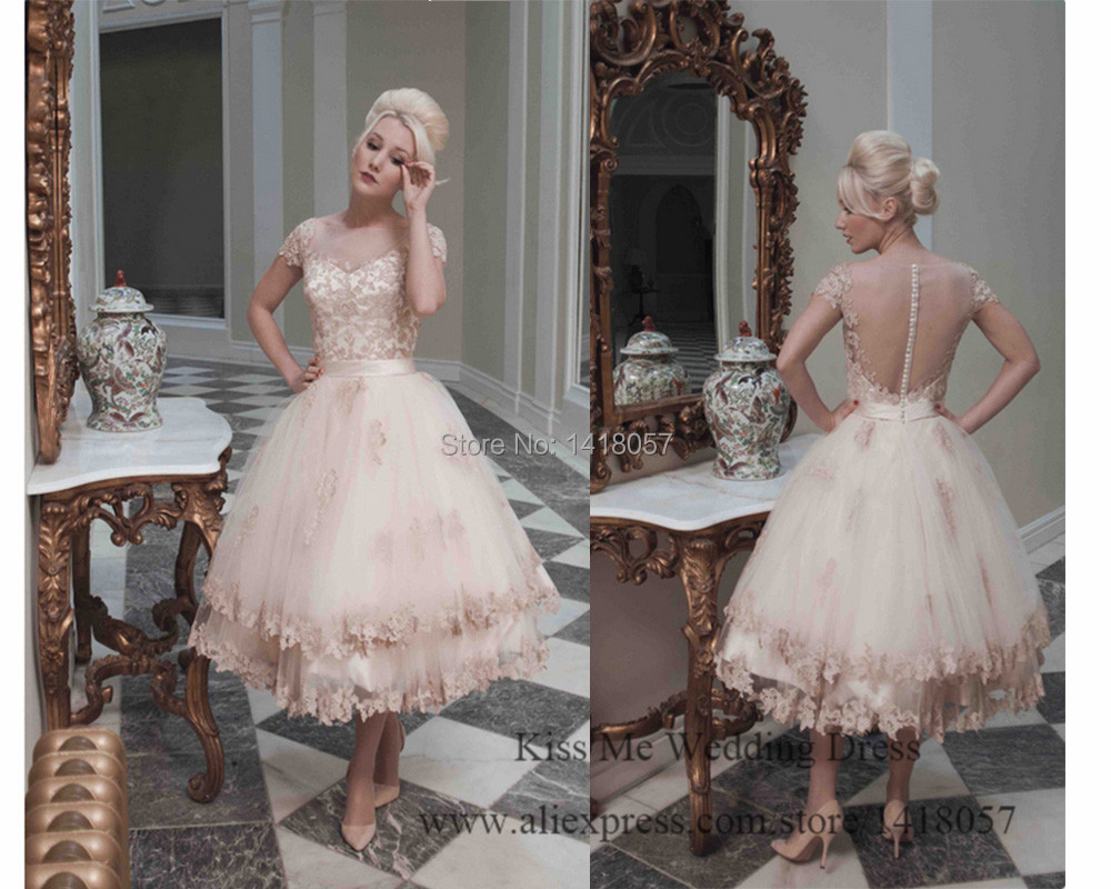 Delightful 2015 Modest Princess Old Pink Wedding Dress Lace Short Tea Length Bridal  Dresses Cap Sleeve Open Back Vestido De Noiva Curto In Wedding Dresses From  ...