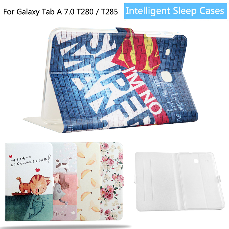 Fashion Painted Flip PU Leather For samsung galaxy tab A 7.0 SM-T280 SM-T285 T280 T285 7.0 inch Smart Case Cover + Film + pen luxury flip stand case for samsung galaxy tab 3 10 1 p5200 p5210 p5220 tablet 10 1 inch pu leather protective cover for tab3