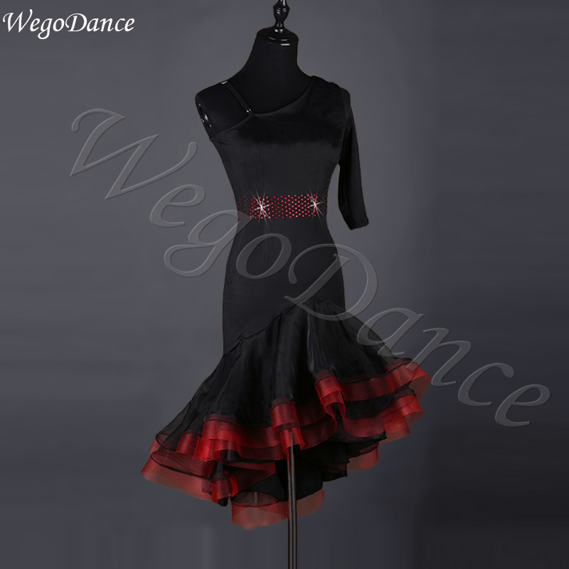 849c085976c8 Vestido para mujer, de una sola manga, de baile latino, de alta calidad,  nuevo estilo, envío gratis