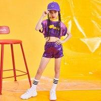 Girls Jazz Dance Costume Korean Children's Street Dance Set Sequins Drum Show Performance Tide Summer Two piece