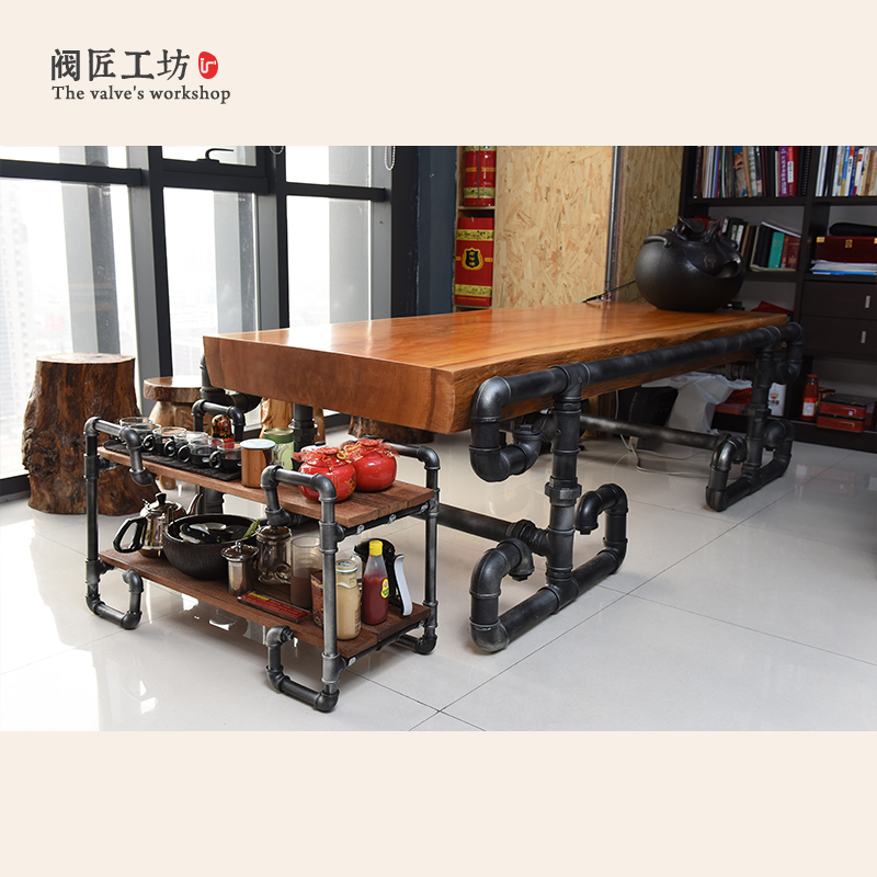 american-president's-solid-wood-table-made-of-pipe-and-valve-loft-industrial-vintage-pipe-boss-table-conference-tables-j004